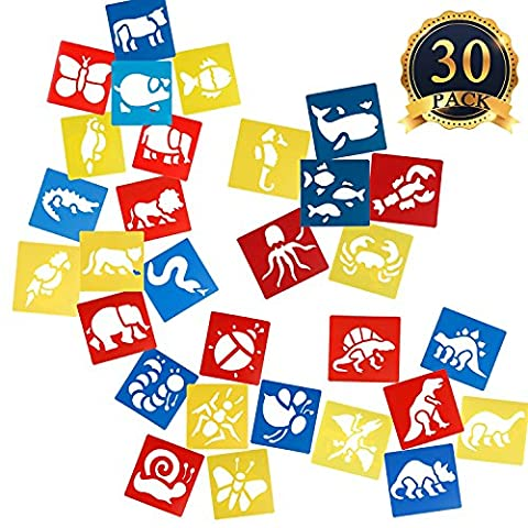 SUBANG 30 Pcs Plastic Animal Painting Drawing Stencil Templates for
