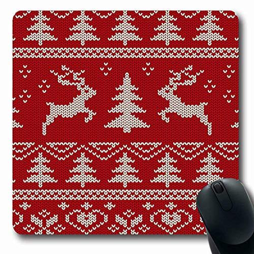Luancrop Mauspads für Computer Season Red Jumper Skandinavisches Strickmuster Deers Christmas Wollpullover Hipster Nordic Tree rutschfeste, längliche Gaming-Mausunterlage Christmas Tree Jumper
