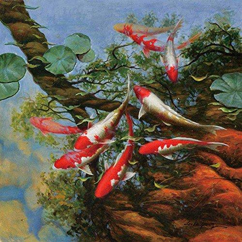Leinwandbilder – Koi Fisch Feng Shui I Tier Fotorealistisch Malerei Kunstdrucke – 90X90 - Koi Feng-shui Fisch