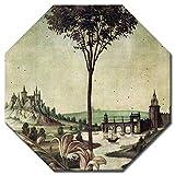 Bilderdepot24 Kunstdruck - Alte Meister - Sandro Botticelli - Landschaft - Detail Verkündigung - Achteck 50x50 cm - Leinwandbilder - Bilder als Leinwanddruck - Bild auf Leinwand - Wandbild