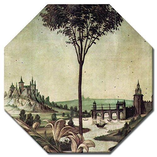 Bilderdepot24 Kunstdruck - Alte Meister - Sandro Botticelli - Landschaft - Detail Verkündigung - Achteck 50x50 cm - Leinwandbilder - Bild auf Leinwand