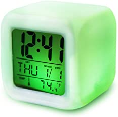 Luvina Kids Clock Digital Alarm Clocks 7 Colors Changing Digital Alarm Clock with Multi-Function Thermometer Night Glowing for Bedroom&Table,School Desk