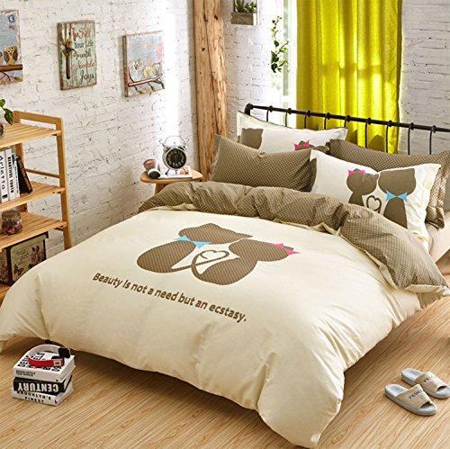 Gato amante pareja regalo 4piezas Diseño de juego de cama, funda de...