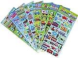 HighMount Transport de Voiture Stickers 8Feuilles avec Voiture, Avion, Vraquier, Train, Moto–Transport Stickers en PVC pour Enfants–320Stickers