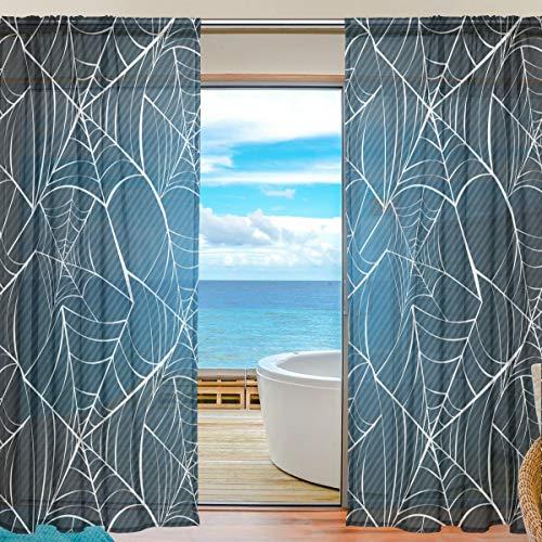 Halloween Muster Voile Tüll Fenstervorhänge, 2 Panels Set für Home Küche Schlafzimmer Wohnzimmer, 55 W X 78 L Zoll ()