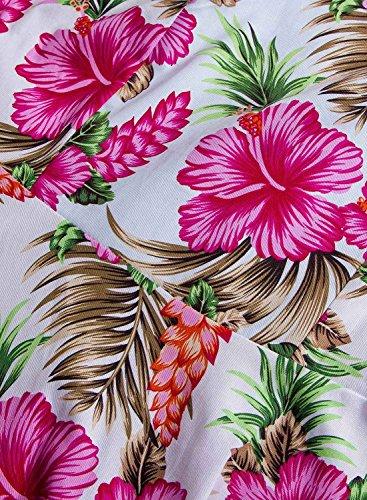 Futurino Femme Printemps/Été Décontracté Vintage Rétro Floraux 1950s Audrey Hepburn Swing Midi Robe de Soirée Plage Vacances Floral Hot Rose
