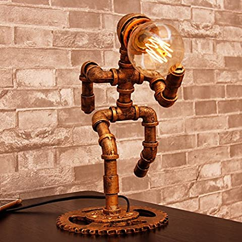 Vintage Industrial Table Lamp Steampunk Table Light Rustic Water Pipe Style Bedside Desk Lamp For Home Study Room Bedroom Library Hotel Desktop Lights Height