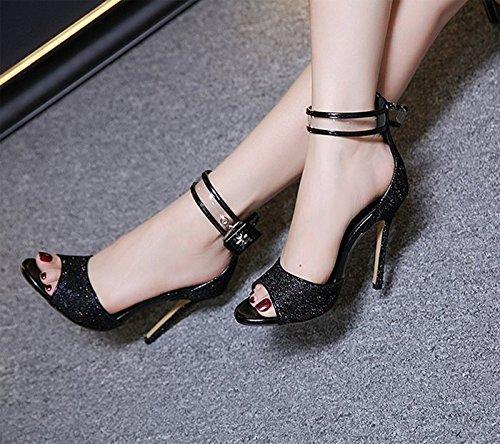 Khskx-8.5cm Noir Chaussures Une Bouche De Poisson En Daim Chaussures À Talons Chaussures Imperméables En Été Correspond Tout Bien Avec Des Sandales, 39 Trente-huit