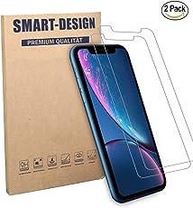 Smart-Design] iPhone XR Panzerglas Panzerglasfolie 9H (Anti-Kratzer, Leicht anzubringen, Blasenfrei) [Anti-Bruch] [Anti-Fingerabdruck] [2 Stück]
