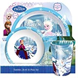 3pc set - Disney Frozen Elsa Anna Olof Tumbler, bowl and plate set - Dinner set lunch table set
