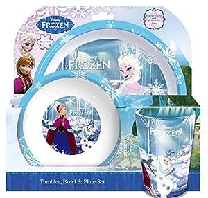 Ensemble assiette bol verre thème frozen spearmark multi colore 3 pieces
