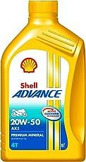 Shell Advance AX5 550043185 20W-50 API SL Premium Mineral Motorbike Engine Oil (1 L)