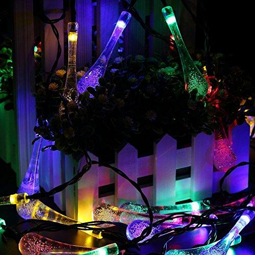 GDEALER Solar Outdoor Lichterkette 6 Meter 30 LEDs Wassertropfen Solarbetrieben Lichterkette Wasserfest Weihnachten Dekoration für Garten, Terrasse, Hof, Haus, Weihnachtsbaum, Feiern – RGB - 5