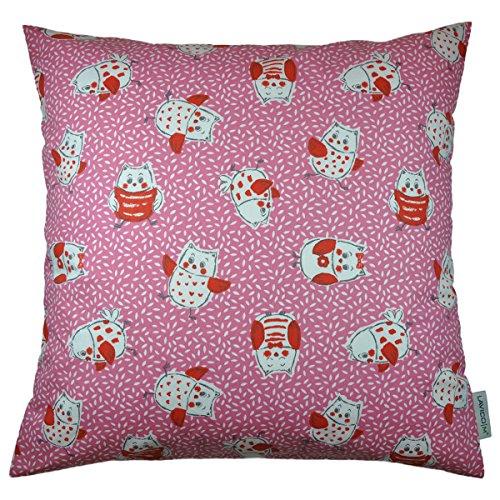 LAVICOM Kinderzierkissen Eulerich & Eulinchen Pink/Rot 100% Baumwolle ca. 40 x 40cm – inkl. Federkissen