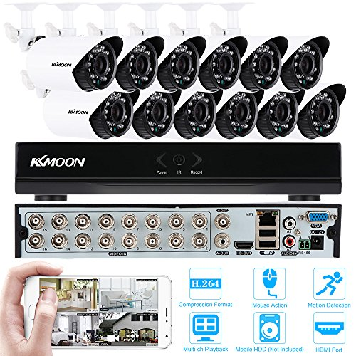 KKmoon-16CH-CCTV-DVR-Security-Camera-System-12800-TVL-IR-Cut-Waterproof-Night-Vision-Bullet-Cameras-16CH-DVR-960H-H264-CCTV-DVR-NVR-Home-Security-Systems-Support-Motion-Detection-Alarm