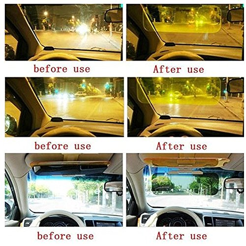 Santech 2 In 1 Hd Car Anti Glare Dazzling Day Night Vision Driving Mirror Sun Visors + Santech Logo Keyring for Mahindra KUV100