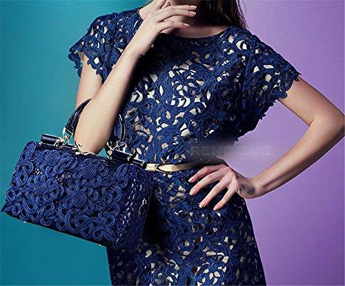 Xinmaoyuan Borse donna in pizzo spalla singolo sacchetto a cuscino vera pelle borsetta,rosso Blue