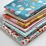 6 Fat Quarters - Autumn Wildwood - Aqua blue, mustard, pink and orange 100% Cotton Fabric. Ideal for Quilting and Craft Sewing (includes free patchwork pattern)