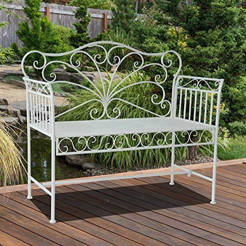 Outsunny Garden 2-Sitzer Metall Bench Park Platz Outdoor Möbel W/Dekorative Rückenlehne weiß - 3