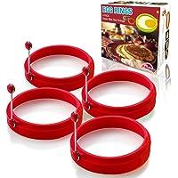 Portauovo  stampo per pancake antiaderente rotondo in silicone  4 pezzi di rosso