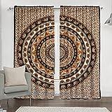 """Indian Elephant Mandala Door Curtain, Tapestry Drapes, Window Treatment Panel, Balcony Room Decor Curtain Set 84 x 80"""" By Bhagyoday Fashions"""