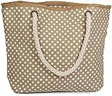 styleBREAKER Strandtasche mit Punkte Muster und Reißverschluss, kleiner Kosmetiktasche, Shopper, Damen 02012062, Farbe:Beige-Weiß