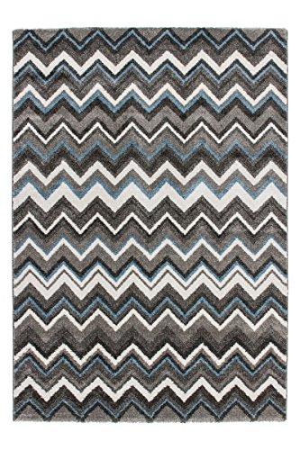 Lalee 347250486, Tappeto di Alta qualità con trendigem Zacken Modello, Blu/Grigio, Grau, 160 x 230 cm