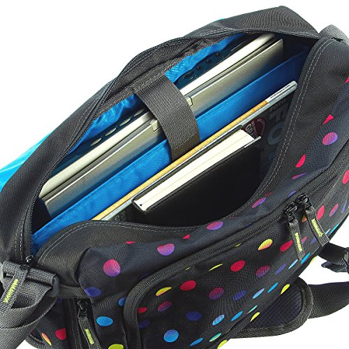 Coocazoo City and School Hang Dang Borsa a tracolla con scomparto per laptop 44 cm, hip to be a square blue checkmate blue red