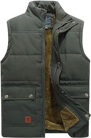 KEFITEVD Men's Winter Fleece Fishing Body Warmer Warm Windproof Gilet Outdoor Photography Vest with Multi Pockets