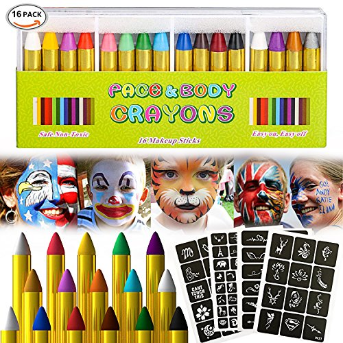 Visage Peinture, Kits de peinture faciale, Peinture pour le visage pour enfants, Peinture pour le visage lavable, Peinture corporelle non toxique, Idéal pour Noël, Fêtes d'anniversaire (16 Colors)
