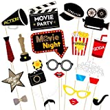 Amosfun Hollywood Photo Booth Props Kit Hollywood Party Selfie Photo Props Noche de Película Photo-Booth Props ArtíCulos de Fiesta, Pack de 21