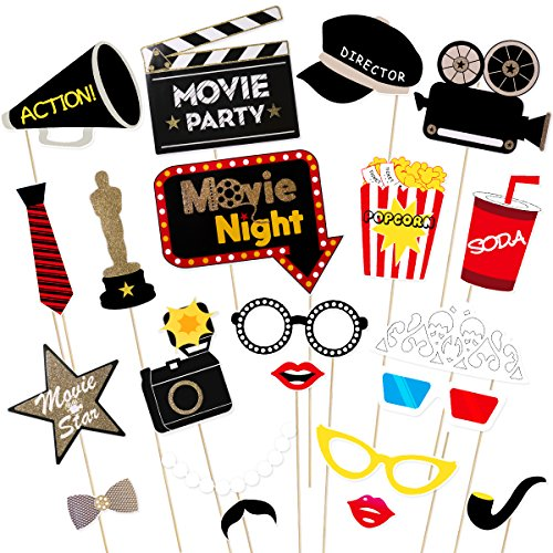 Amosfun Hollywood Photo Booth Requisiten Kit Hollywood Party Selfie Foto Requisiten Film Nacht Photo-Booth Requisiten Party Supplies, Packung mit 21