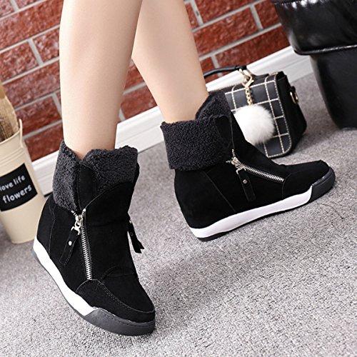 CHNHIRA Femme Martin de bottes bout rond Bottines chaussures à fond épais boots chaude laine chaussure de coton Noir