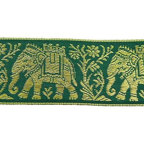 Elefant Muster Grüner Ordnung Jacquard-Band 4,0 Cm Breit Sari Grenze Durch Den Hof