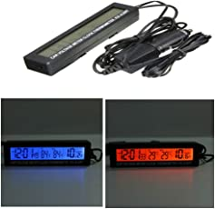 Rrimin New Car 3in1 Digital LCD Clock Thermometer Battery Voltage Monitor