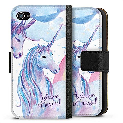 Apple iPhone X Silikon Hülle Case Schutzhülle sprüche einhörner unicorns Sideflip Tasche schwarz