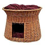 2-81-R Ovale Katzenhöhle aus Weide von GalaDis. Mit zwei Kissen. Ein Katzenkorb für Ihre Katze zum Ruhen und Spielen