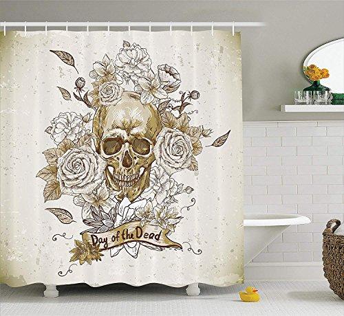 rationen Sammlung Schädel mit Rosen Tag der Toten Zeichen Horror Mexikanische Traditionelle KunstBad Duschvorhang e Vanille Weiß Elfenbein ()