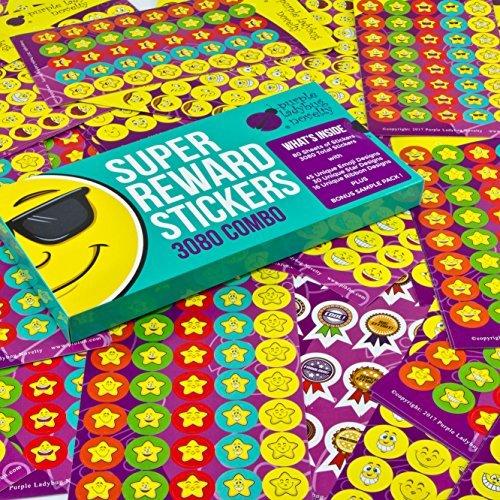 Pack de Pegatinas de Recompensa para Niños y Profesores de Purple Ladybug Novelty | 3080 Stickers Autoadhesivos (Emojis, Estrellas, Cintas) para Motivar e Incentivar Alumnos | Incluye Muestra Gratis