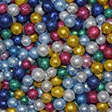 PMW Small Glittered Thermocol Balls Art and Craft Decoration, Multicolour -10 Packs