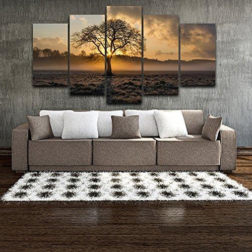 Dekorative Modular Frame Wand Kunst Fotos 5 Panel Sunrise Baum Landschaft für Wohnzimmer Schlafzimmer Drucke Leinwand Cuadros, mittelgroß ()