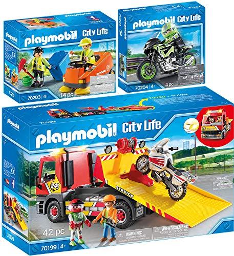 City Life PLAYMOBIL 3er Set 70199 70203 70204 Abschleppdienst + Kehrmaschine + Motorradtour
