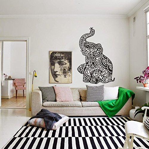 elephant-wall-stickers-yoga-vinyl-boho-wall-decal-home-bedding-decor-nursery-wall-muralmediumblack