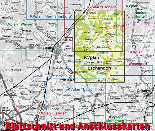 Lachendorf: 1:12.500 Gemeindeplan mit Freizeitkarte 1:25.000 inkl. Radrouten, Wander- und Reitwegen (KVplan Heide-Region) - 2