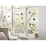 Komar - Windowsticker CHEERFUL - 31 x 31cm - raamdecoratie, raamsticker, raamfolie, vlinders, vlinders, vlinders, bloemen, ta