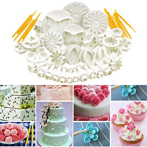 Decorazione della torta formine set, fantasyday set di 47 pezzi stampini per biscotti attrezzi pasta di zucchero,corredo di attrezzo di modellazione di denti di taglio del rullo dello stantuffo con il perno di rotolamento - tantissime forme decorative per torte artistichee