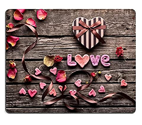 Luxlady Gaming Mousepad IMAGE ID: 35305571 Word Love with heart shaped Valentines Day gift box on old vintage wooden plates Sweet holiday background with rose petals small hearts curved