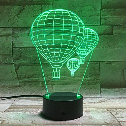 Wangzj 3d Lampe Nachtlicht/Party Supplies Dekorationen/indoor 3d Optische Täuschung Schreibtischlampe / 7 Farben ändern/Heißluftballon (Party Schlumpf Supplies)