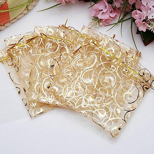 LUOEM 100pcs Geschenk Taschen Schmuck Beutel Kordel Organza Beutel Hochzeit Gunst Tasche Wimpern Style 9 * 12cm -