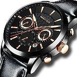 Herrenuhren Edelstahl Schwarz Klassische Luxus Business Casual Uhren mit Mondphase wasserdichte Multifunktions Quarz Armbanduhr für Herren (F)